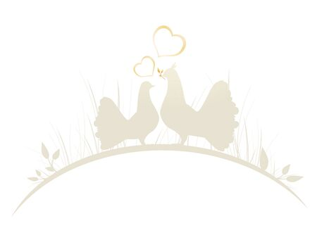 love bird: Romantic Pigeons In Love With Two Hearts at Grass Border Illustration