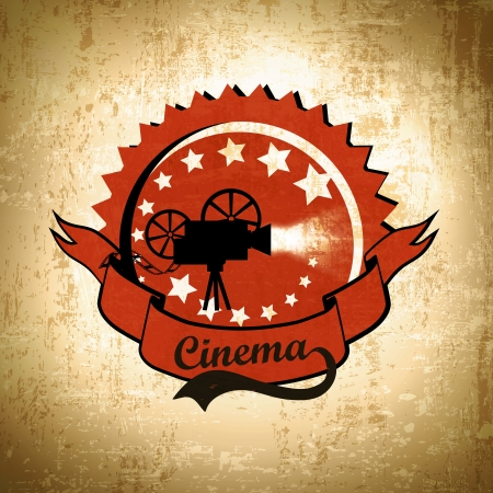 movie film: Retro Cinema Background With Old Movie Camera Label In Black and Red