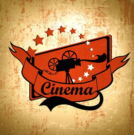 film tape: Retro Cinema Background With Old Movie Camera Label In Black and Red