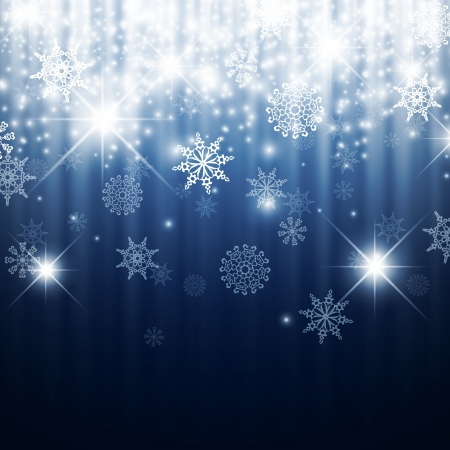 miraculous: Christmas Winter Holiday Abstract Background With Snowflakes, Lights and Stars