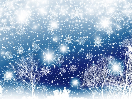 miraculous: Christmas Night Landscape With Stars, Snowflakes and Winter Trees
