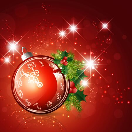 New Year and Christmas Time Ball With Clock and Fir Decoration Stock Vector - 16596744