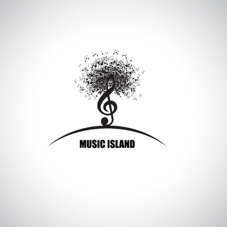 Abstract Music Island with Treble Clef and Notes Stock Vector - 16596736