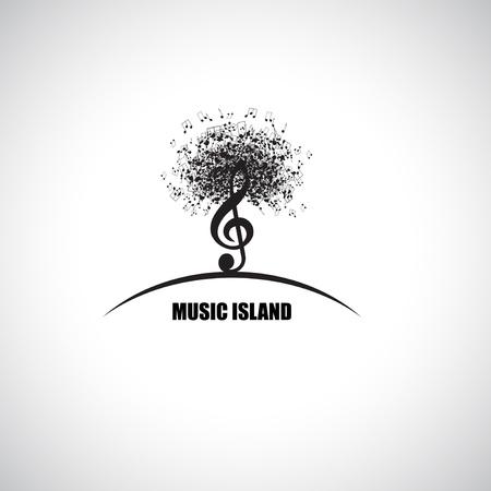 viertelnote: Abstrakte Musik Insel mit Violinschl�ssel und Hinweise Illustration
