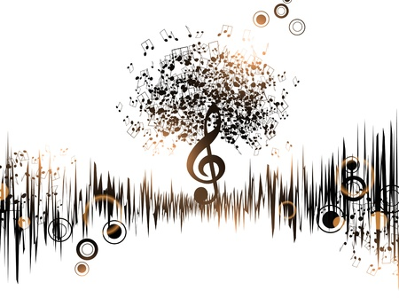 musicality: Abstract Music Background With Notes and Treble Clef  Illustration