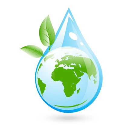 Eco Clear Water Concept With Green Leaf and World Vector
