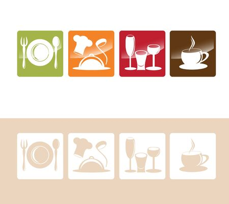 Food And Drink Multicolored Icon Row  Vector