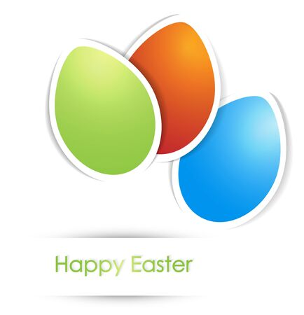 Easter Multicolored Eggs With Copyspace For your text Over White Background Stock Vector - 17229347