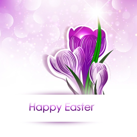 Happy Easter Greeting With Crocus Flowers Over Bright Background Stock Vector - 17229336