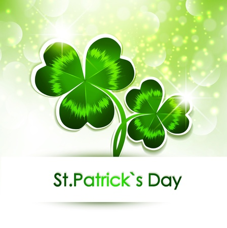 st patrick day: Happy St Patrick s Day Greeting With Green Clover Over Bright Background