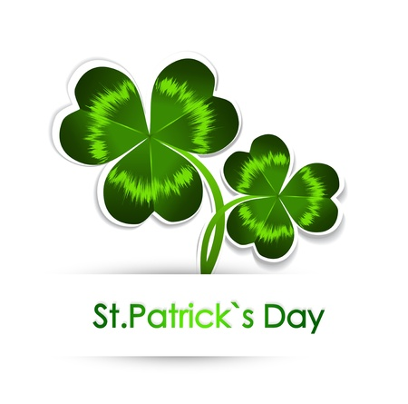 Happy St Patrick s Day Greeting With Green Clover Over White Background Stock Vector - 17247222