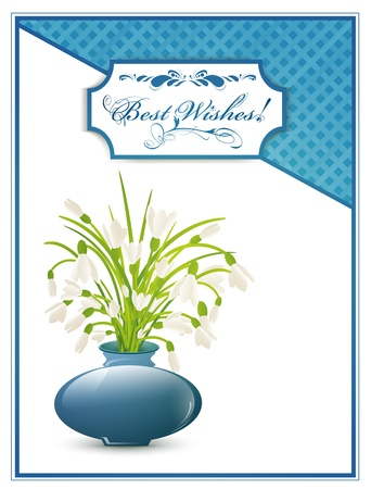 Best Wishes Postcard With Bunch of Snowdrops Vector
