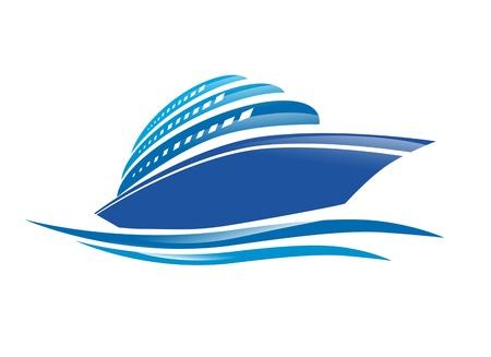 Illustration of the Cruise Ship Over White Background
