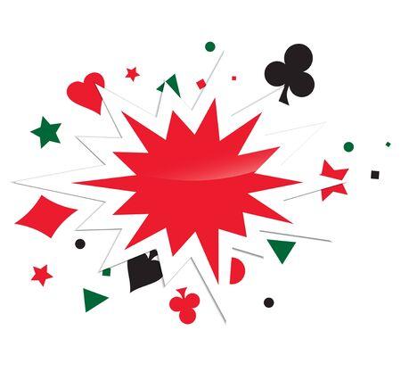 kartenspiel: Abstrakte Card Game Boom Over White Background Illustration