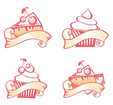 Cupcake and Cherry Pie Design Set Over White Vector