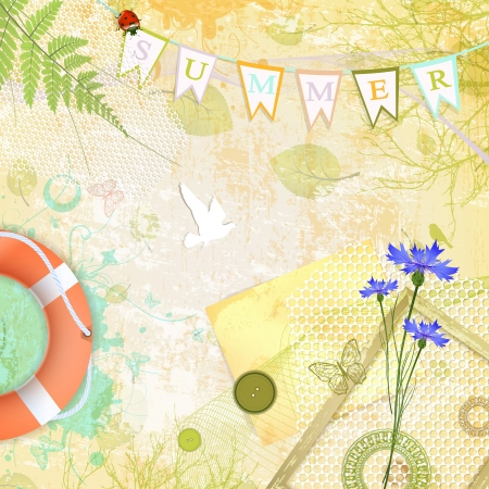 Summer Scrapbooking Abstract Background  Vector