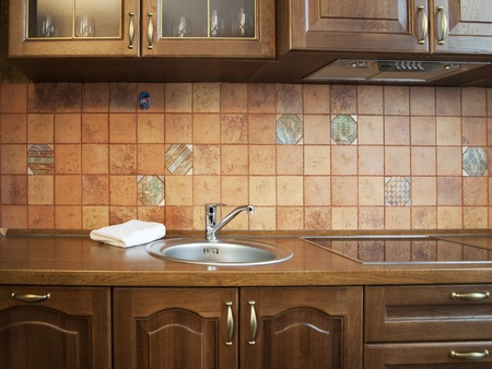 kitchen tiles: Kitchen Interior With Tiles Wall in Beige