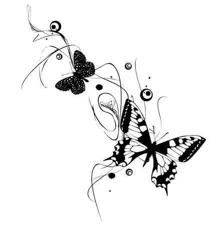 black butterfly: Abstract Butterflies Design In Black and White