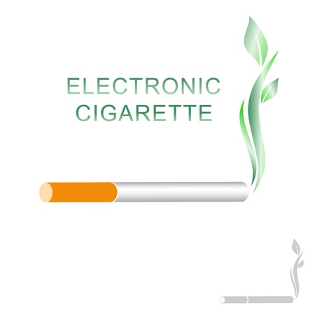 Electronic Cigarette Concept With Green Leaves Over White Illustration