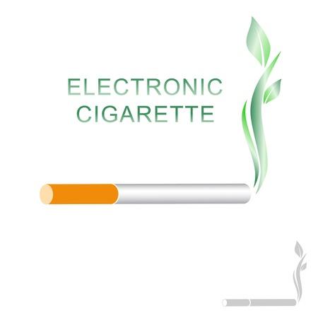 pipe smoking: Elektronische Zigarette Konzept mit gr�nen Bl�ttern auf wei�em