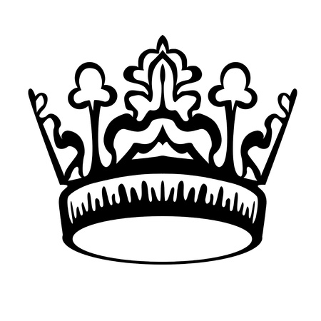 aristocracy: Single Crown Illustration Over White Background Illustration