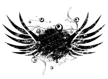 grunge wings: Astratto Ali di Grunge con Copyspace Sopra Bianco