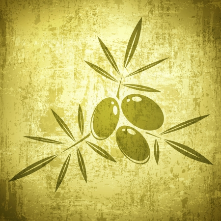 Vintage Olives Grunge Background in Green Vector