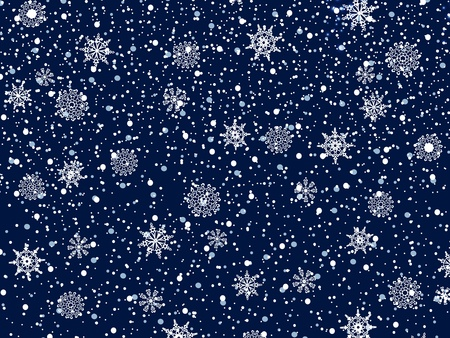 miraculous: Christmas Night Blue Background With Snowflakes  Illustration