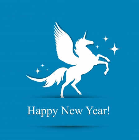 times new roman: Horse New Year Greeting Card (Used Free Times New Roman Font)