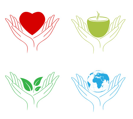 Set of Abstract Care Hands: World, Food, Eco, Love Vector
