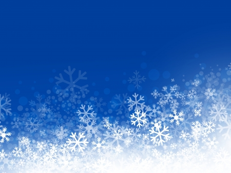 Winter Abstract Snowflake Background in Blue, Copyspace