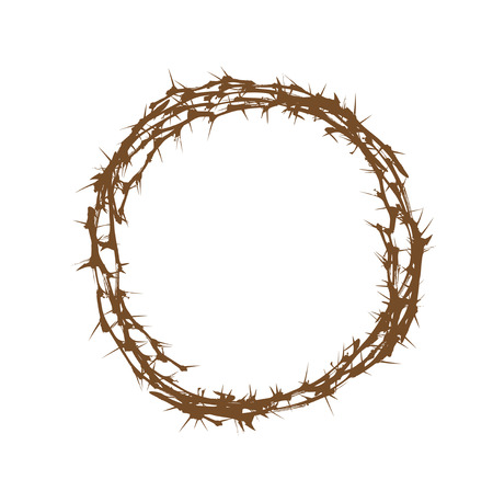 Illustration of Crown of Thorns Over White