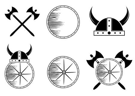 盾、ヘルメット、斧のシルエットのバイキング セットの属性:  イラスト・ベクター素材