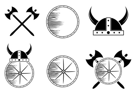 axe: Attribute Viking Set: Shield, Helmet, Axe Silhouettes