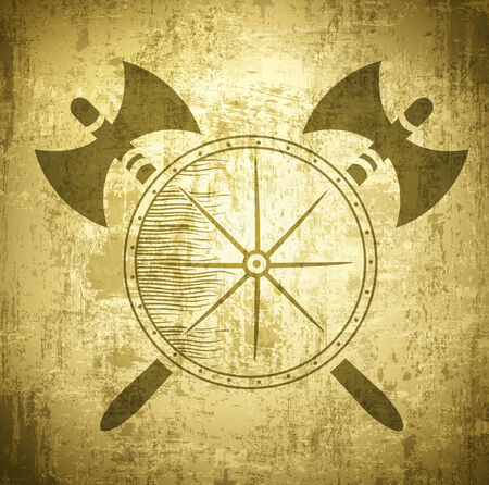 ax: Vintage Viking Grunge Background With Axes and Shield