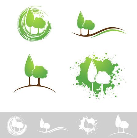 Landscape Abstract Design Collection Over White Illustration
