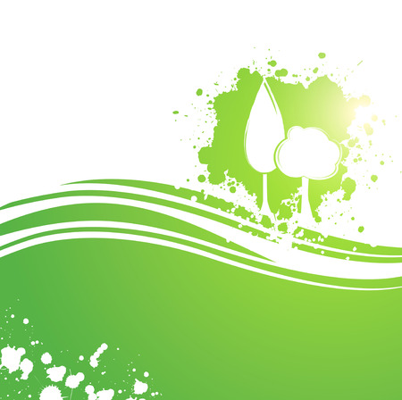 Abstract Landscaping Eco Tree Background With Copyspace Vector