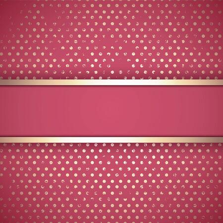crimson: Grunge Vintage Golden Border In Crimson Colour