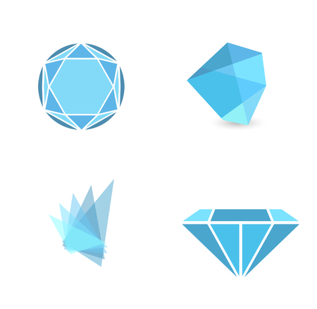 gemstone: Abstract Gemstone Sign Collection Over White Background Illustration