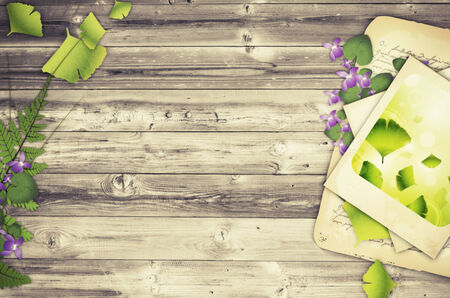 Illustration of Nature Wooden Background With Flower and Old Papers