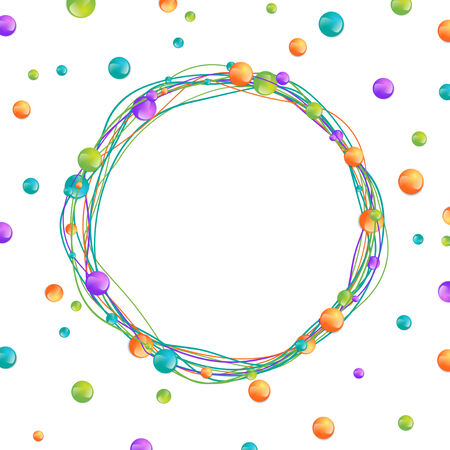 Multicolored Beads Round Frame Over White, Copyspace