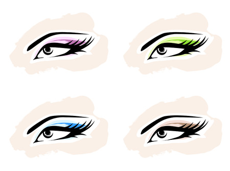 beautiful eyes: Woman MakeUp Eye Collection Over White