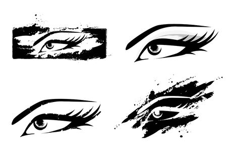lash: Woman Abstract MakeUp Eye Collection in Black and White