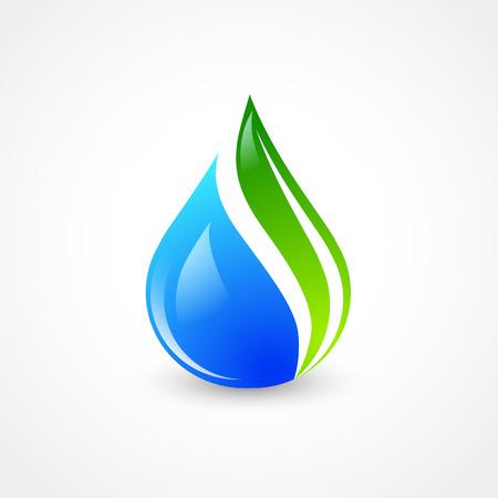 Ilustración de la gota del agua de Eco con la hoja verde Foto de archivo - 32054128