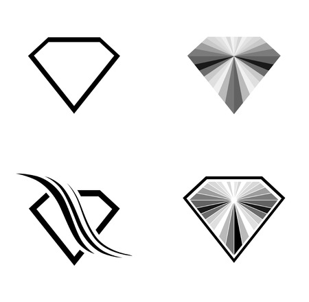gemstone: Different Diamond Logo Design Collection Over White Background Illustration