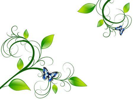 vitality: Green Floral Leaf Green Vitality Frame, Copyspace