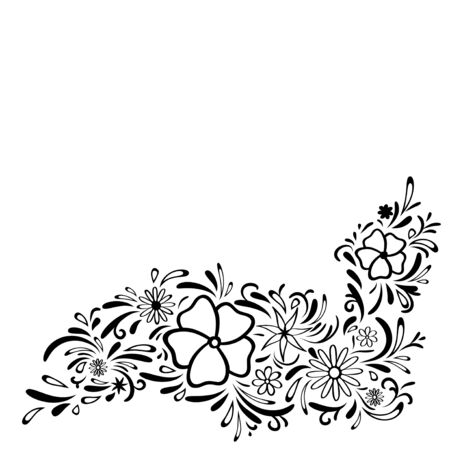 your text: Abstract Floral Border, Copyspace For Your Text Illustration