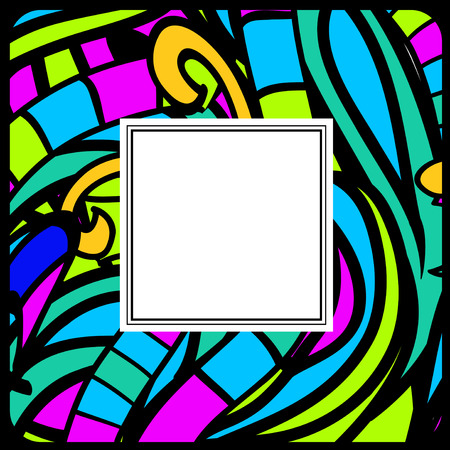 copyspace: Multicolored Stained-Glass Abstract Frame, Copyspace Illustration