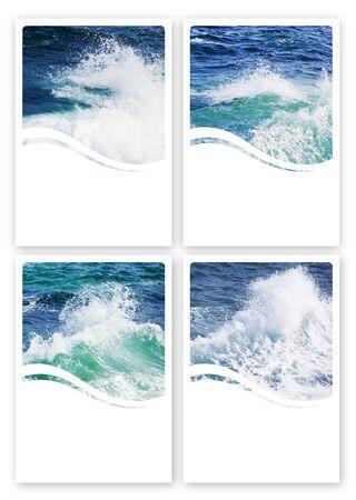salt water: 6x4 Wavy Sea Label Set With My Own Photos