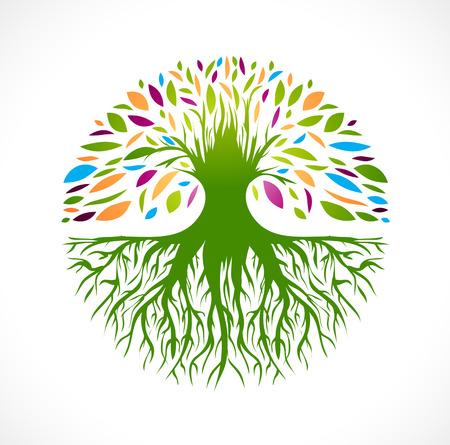 albero della vita: Illustrazione di multicolore rotonda Vitality Albero astratto Vettoriali
